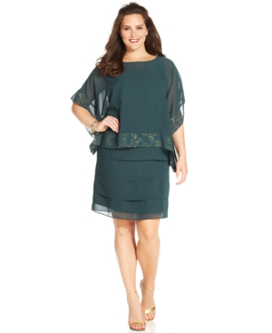 UPC 672473841864 - Le Bos Plus Size Chiffon Tiered Dress and Capelet ...