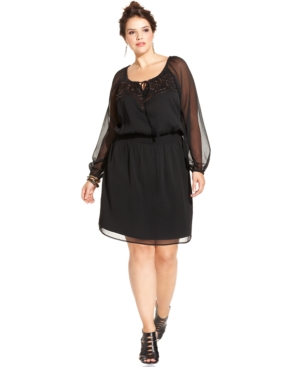 Jessica Simpson Plus Size Beaded Peasant Dress