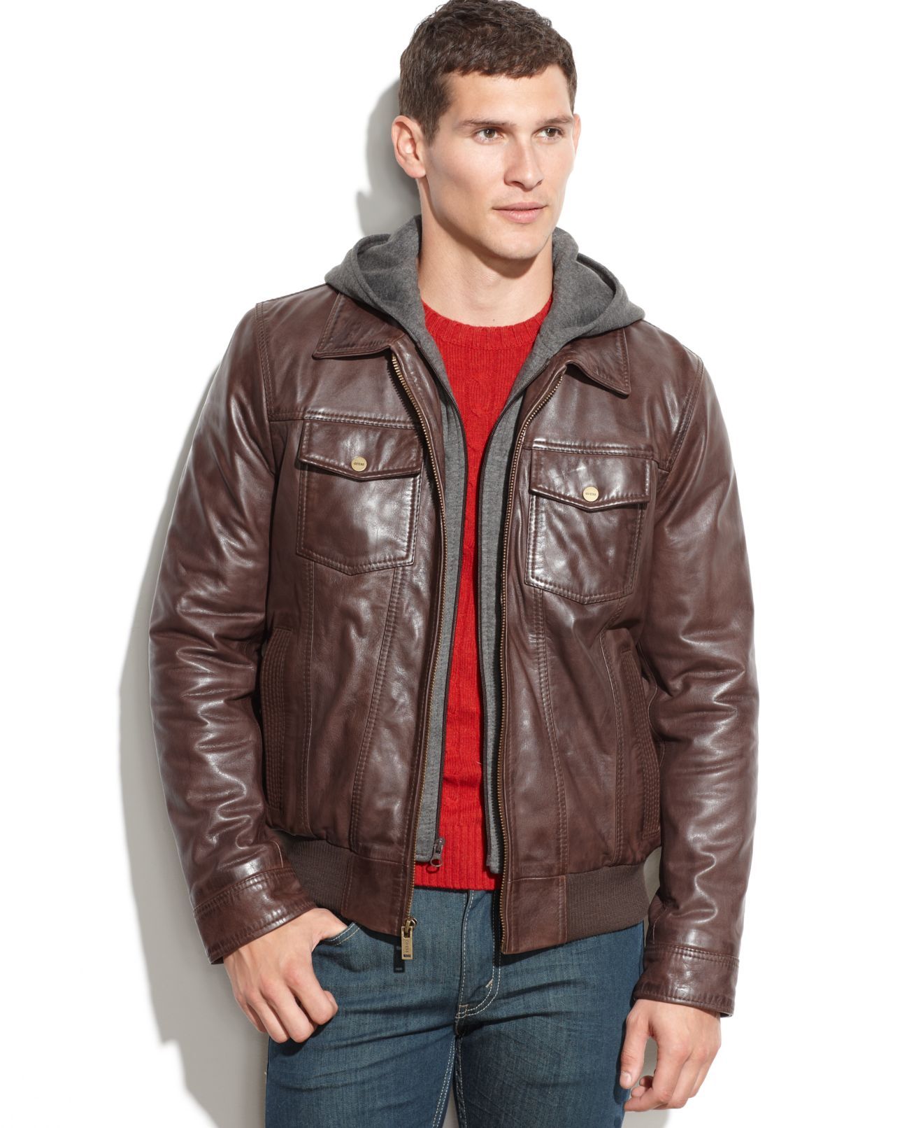 Guess Mens Leather Jacket Guess Leather Jacket With Knit
