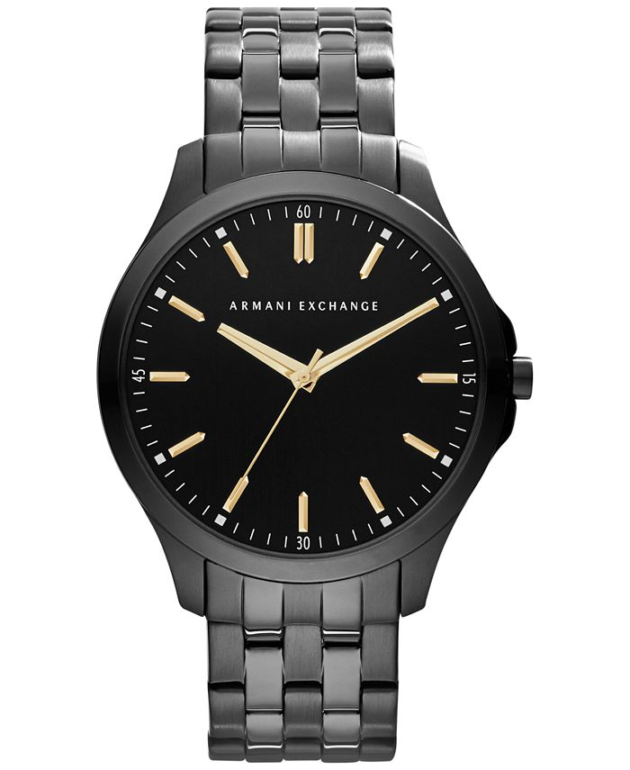 A|X Armani Exchange - Men's Black Ion-Plated Stainless Steel Bracelet Watch 45mm X2144