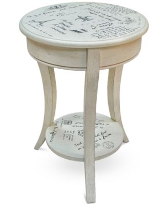 Carrie Vintage French Script Accent Table, Direct Ships for just $9.95
