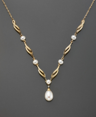 14k Gold Cultured Freshwater Pearl & Diamond Accent Necklace