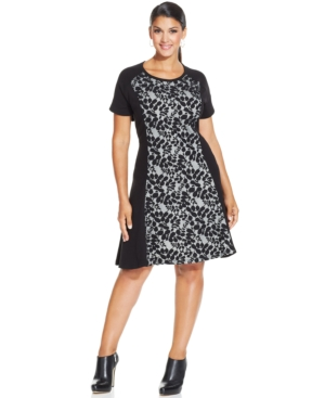 Style & co. Plus Size Lace-Trim Skater Dress