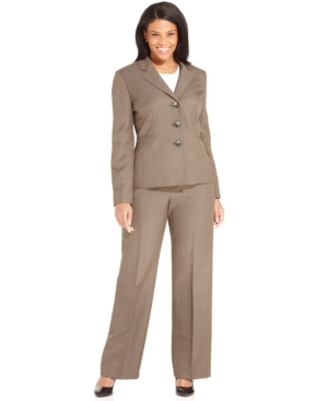 Evan Picone Plus Size Three-Button Pinstriped Pantsuit