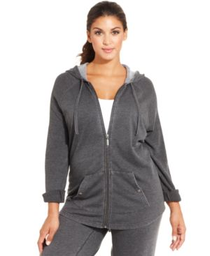 Style & co. Plus Size Roll-Tab-Sleeve Zip-Front Hoodie