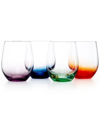 The Cellar Set of 4 Assorted Color Stemless Wine Glasses