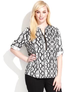 Calvin Klein Plus Size Animal-Print Zipper-Neck Top