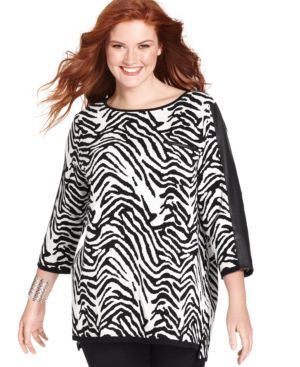 Style & co. Plus Size Faux-Leather-Trim Zebra-Print Sweater