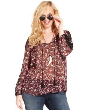 Jessica Simpson Plus Size Floral-Print Peasant Top