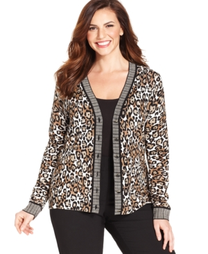 Jones New York Signature Plus Size Leopard-Print Cardigan