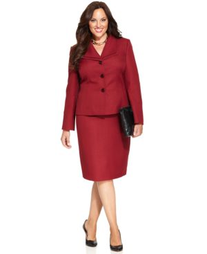 Le Suit Plus Size Three-Button Melange Skirt Suit