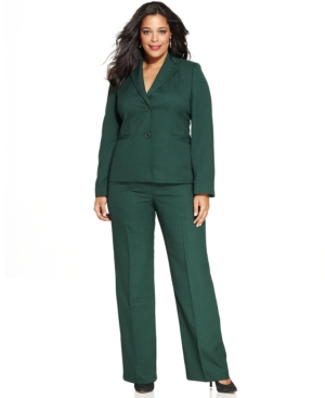 Evan Picone Plus Size Two-Button Faux-Pocket Pantsuit