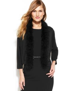 Calvin Klein Plus Size Feathered Trim Shrug