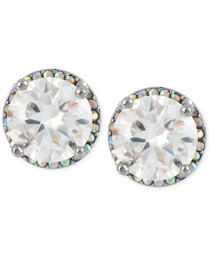 Betsey Johnson - Silver-Tone Crystal Round Stud Earrings