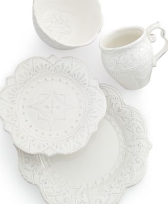 Maison Versailles Blanc Amelie Scalloped 4-Piece Place Setting