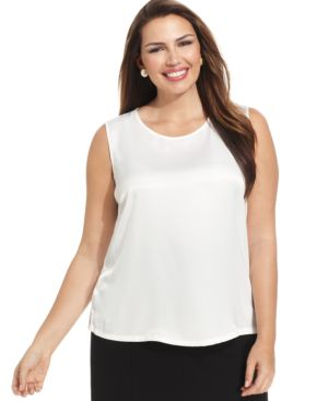 Kasper Plus Size Sleeveless Suiting Top
