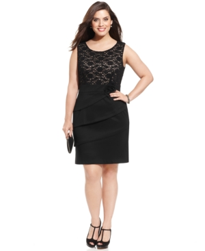 Connected Plus Size Contrast-Lace Tiered Dress