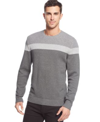 Alfani BLACK Chest Stripe CrewNeck Sweater