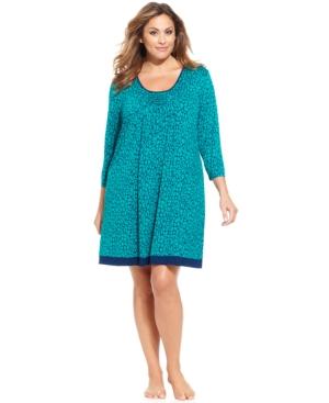 Ellen Tracy Plus Size Autumn 3/4 Sleeve Sleepshirt