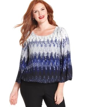 Alfani Plus Size Embellished Printed Blouson Top