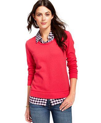 Tommy hilfiger plaid layered shirt sweater sweaters for Plaid shirt under sweater