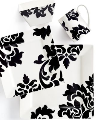 Martha Stewart Collection Lisbon Black Square 4-Pc. Place Setting, Only at Macy's