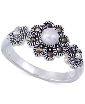 Genevieve & Grace Cultured Freshwater Pearl (4mm) and Marcasite Flower Ring in Sterling Silver