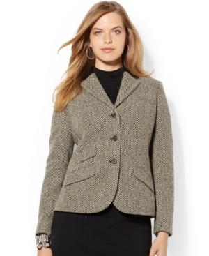 Lauren Ralph Lauren Plus Size Leather-Trim Houndstooth Blazer