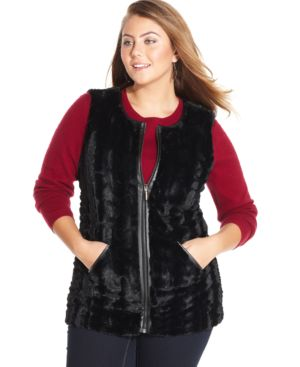 Style & co. Plus Size Faux-Leather-Trim Faux-Fur Vest