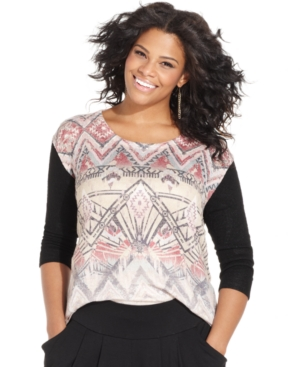 Ing Plus Size Aztec-Print Knit Top