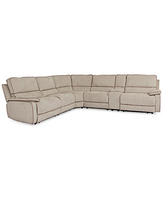 Cody fabric 6 piece sectional sofa with 3 power recliners for Cody fabric 3 piece chaise sectional sofa with 1 power recliner