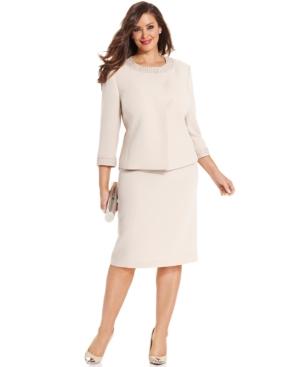 Tahari ASL Plus Size Collarless Beaded Skirt Suit