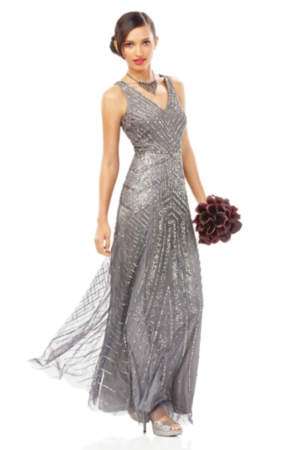 Adrianna Papell Sleeveless Beaded V-Neck Gown $329.00 AT vintagedancer.com