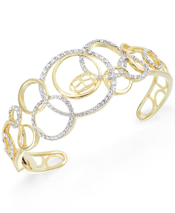 Simone I. Smith - Crystal Multi-Circle Cuff Bracelet in 18k Gold over Sterling Silver