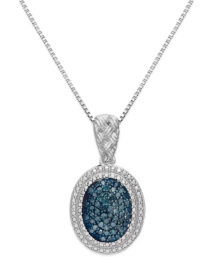 Blue Diamond Oval Pendant Necklace in Sterling Silver (1/4 ct. t.w.)