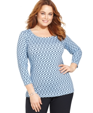 Jones New York Collection Plus Size Three-Quarter-Sleeve Printed Top