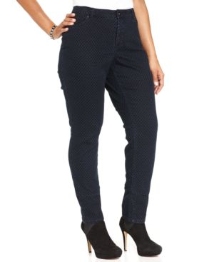 Style & Co. Plus Size Tummy-Control Polka-Dot Jeans, Indigo Wash