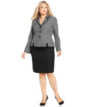 Le Suit Plus Size Patterned-Jacket Skirt Suit