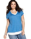 Style&co. Plus Size Short-Sleeve Layered-Look Tee