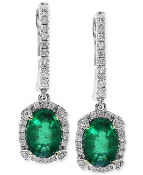 Brasilica by Effy Emerald (1-1/2 ct. t.w.) and Diamond (1/4 ct. t.w.) Earrings in 14k White Gold