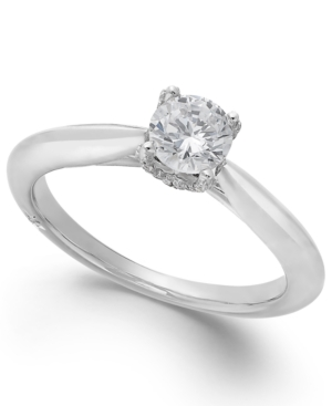 Classic by Marchesa Certified Diamond Solitaire Engagement Ring in 18k White Gold (1/2 ct. t.w.)