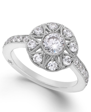 Antique Star by Marchesa Certified Diamond Engagement Ring in 18k White Gold (1 ct. t.w.)