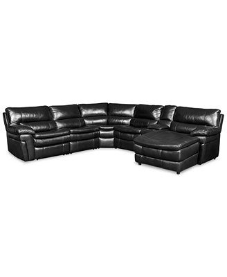 Xander Leather 6 Piece Chaise Sectional Sofa with 2 Power Recliners Furniture Macy s