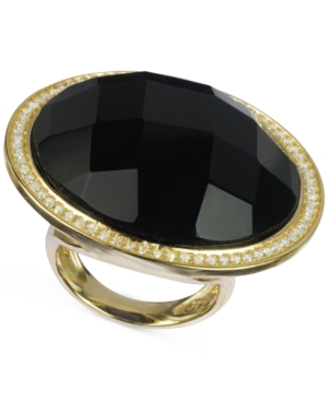 Black Onyx (30 ct. t.w.) and Cubic Zirconia Ring in 14k Gold over Sterling Silver