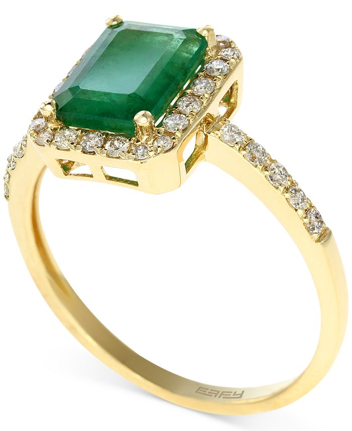 EFFY Collection - Emerald (1-3/8 ct. t.w.) and Diamond (1/4 ct. t.w.) Ring in 14k Gold
