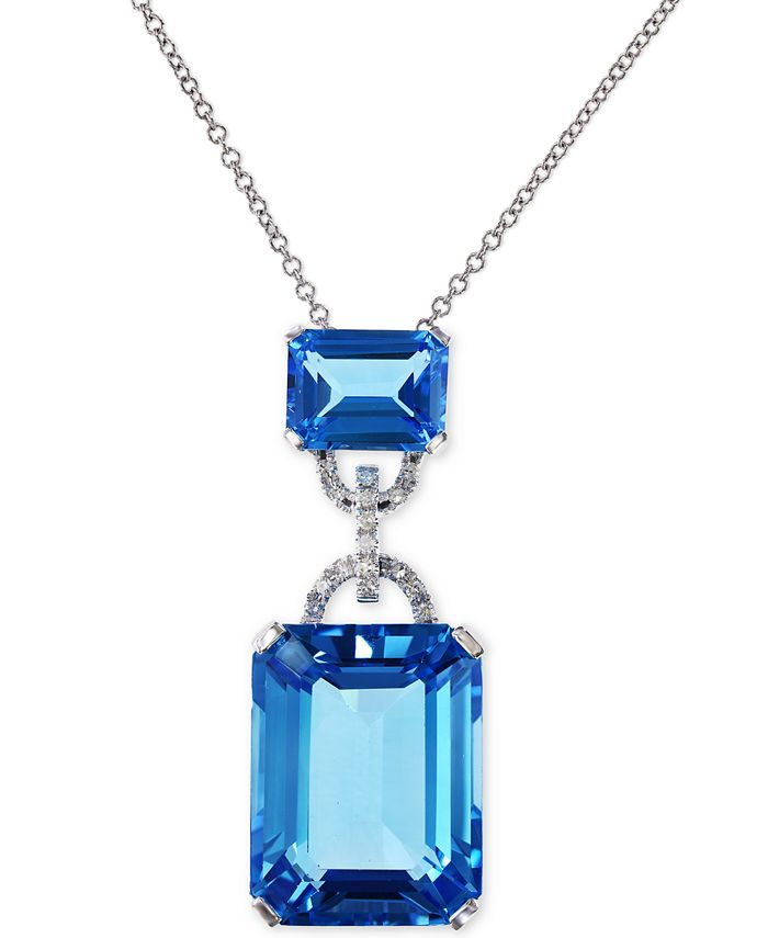 EFFY Collection - Blue Topaz (16-3/4 ct. t.w.) and Diamond Accent Pendant Necklace in 14k White Gold