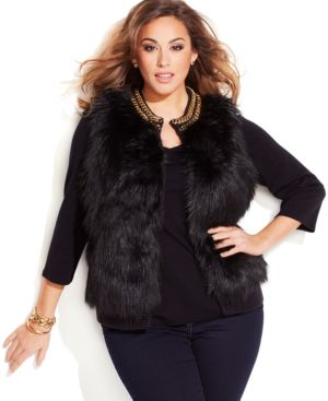 Michael Michael Kors Plus Size Chain-Trim Faux-Fur Vest
