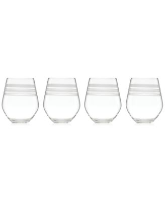 kate spade new york Library Stripe Stemless White Wine Glasses