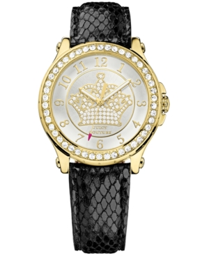 Juicy Couture Women's Pedigree Black Embossed Leather Strap Watch 38mm 1901203