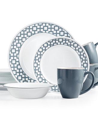 Corelle Urban Grid 16 Pc Set Service For 4 Dinnerware